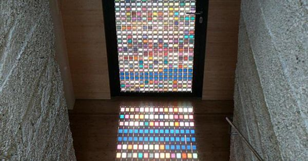 Love this!! Two features in one. A stained glass door casting light