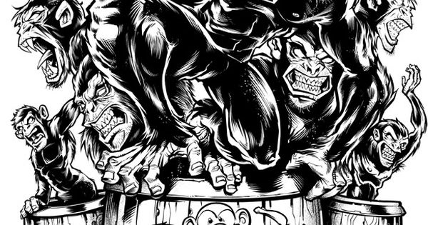 Evil monkeys jumping out of a barrel full of monkeys for Barrel of monkeys coloring page