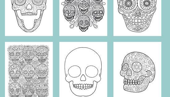 Sugar Skull Coloring Book - dia de los muertos