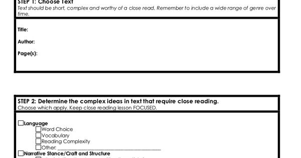 close reading planning template - close reading template 16734919 by kathy perret via