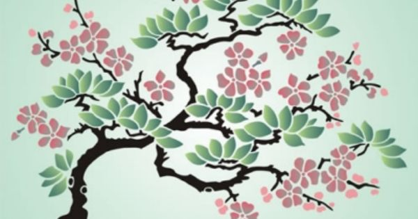 Cherry Blossom Tree Tree Drawing Wall Stencil Patterns Japanese Drawings