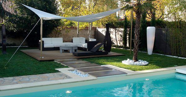 jardin contemporain piscine toile tendue voile unopi