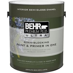 Behr Ultra 1 Gal Pure White Extra Durable Semi Gloss Enamel Interior Paint Primer 375001 The Home Depot Premium Plus