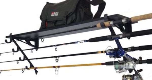 Fishing rod wall rack tackle box storage shelf holds 4 for Horizontal fishing rod rack