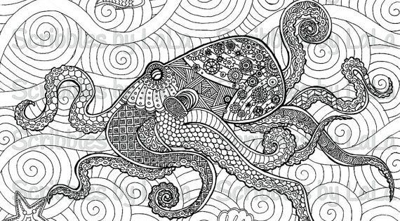 octopus coloring page for adults - printable octopus adult coloring page at etsy pdf allows