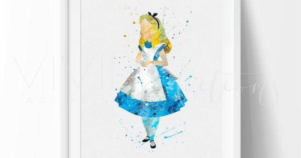 Alice in Wonderland 2 Watercolor Art Print | Nursery art ...
