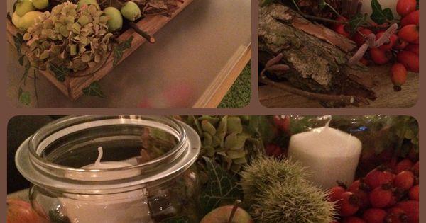 herbstdekoration herbst dekoration kerzen efeu hortensie hagebutte kastanie rinde glas pfel. Black Bedroom Furniture Sets. Home Design Ideas