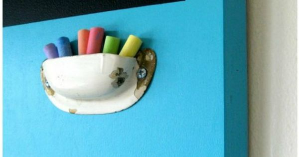 chalk holder from old drawer pull - cute idea!
