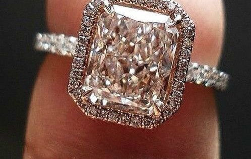 pink diamond and rose. gold. This would be a beautiful wedding ring