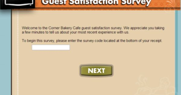 Corner Bakery Cafe Feedback Survey