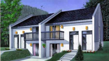 Split Level Duplex 4 Apts Contemporary House Plans House Plans One Bedroom House Plans