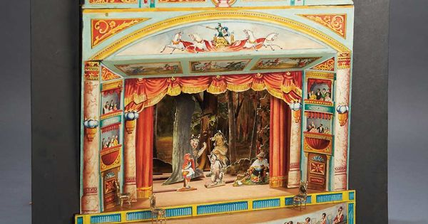 18 x 18 x 15 german toy theater with brilliant lithographed architecture stage dimensional - Teatro marionetas ikea ...