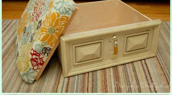 Recycle old drawer furniture ideas projects ottomans for Reuse furniture ideas
