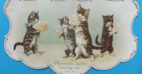 Victorian Cats Embossed Card A Comely Careful Mousing Cat With Hand Fans 31ppp Cats Illustration Cat Art Cats