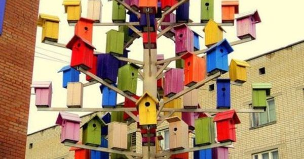 Colored bird houses Colors Life Rainbow