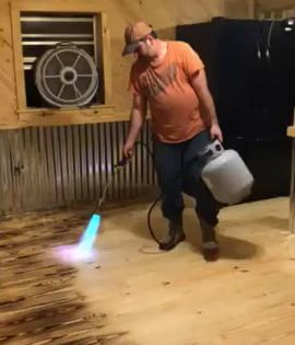 Burn Staining A Floor With A Propane Torch Diy Wood Floors Staining Wood Floors Plywood Flooring Diy