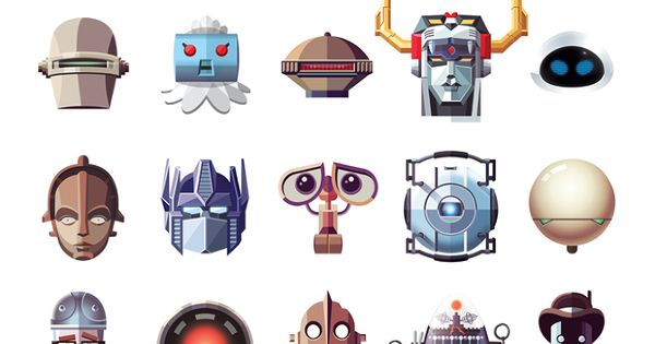 Famous Robots by Daniel Nyari Illustrated Collection of Famous Movie, TV, Comic
