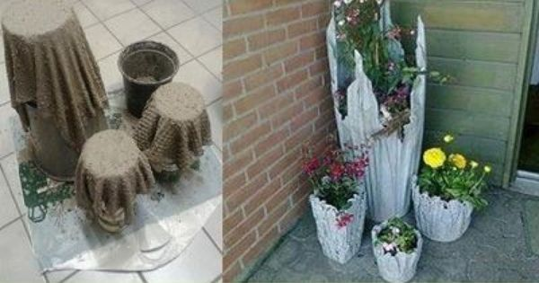 Make Awesome Planters By Soaking Cloth In Cement Water And