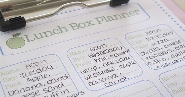 Free Printable Lunchbox Planner...will need in a couple years!