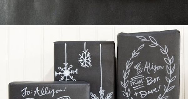 DIY Christmas Chalkboard Gift Packaging with an 'ideas sheet' download, via @
