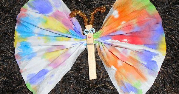 Papillon mouchoir enfants bricolage activit manuelle - Activite pince a linge maternelle ...