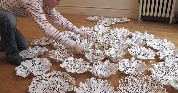 Liquid Porcelain Doily Bowls. Semi DIY.