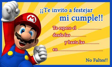 Tarjeta De Cumpleaños De Mario Bros Cumpleaños De Mario