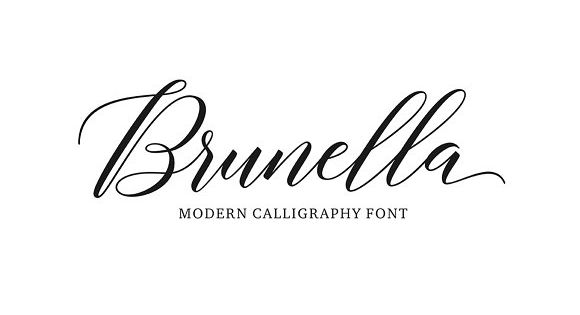 Brunella – modern calligraphy design volume including two fonts, a Regular Script and Style Script
