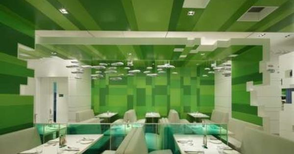 Green Hued Eatery Interiors The P S Restaurant Is Restfully