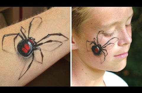 Maquillage araign e veuve noire en 3d bras et visage tutoriel de maquillage halloween - Maquillage toile d araignee visage ...