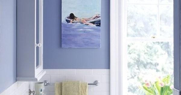 I like the green accent in this blue almost periwinkle for Periwinkle bathroom ideas