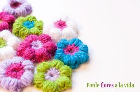 C mo hacer una flor puff de ganchillo crochet puff - Como hacer un puff de trapillo ...