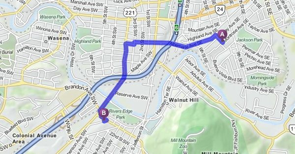 Driving Directions From 709 Montrose Ave Se Roanoke
