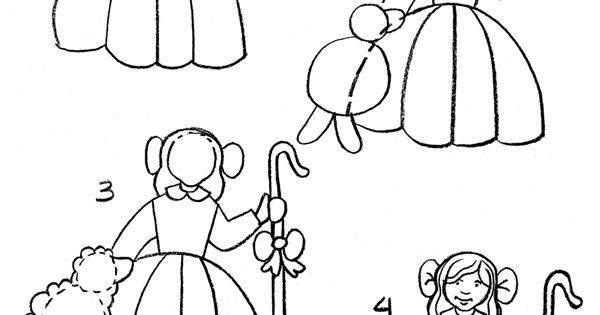 How to draw little bo peep kids coloring activity for Little bo peep coloring pages