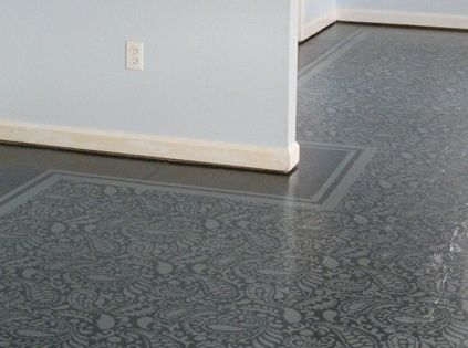 Amazing painted plywood subfloor a how to painted vinyl for Painted vinyl floor cloth
