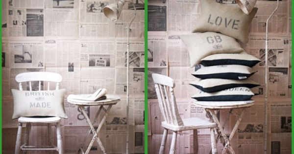 Paredes decoradas con peri dicos walls decorated with for Recycled living room ideas
