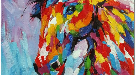 Multicolor Francoise Nielly Portraits Handmade Oil: Original Colorful Horse Oil Painting Hand Painted Multi