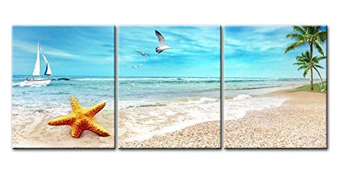 Amazon Com Sz Hd Painting Canvas Print For Home Decoration Framed Stretched 5 Panels Starfish Shell Seascape Wall Art Seascape Canvas Wall Art Pictures