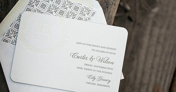 Wedding Invitations Jackson Ms: Carter White & Wilson Hood Letterpress Rehearsal Dinner