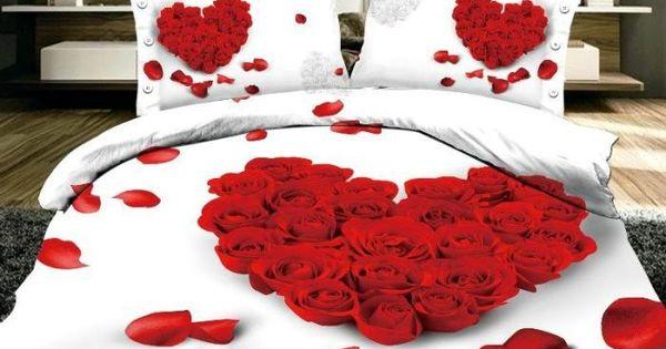 3d Red Rose Petals Comforter Covers Queen Size 4pcs Floral