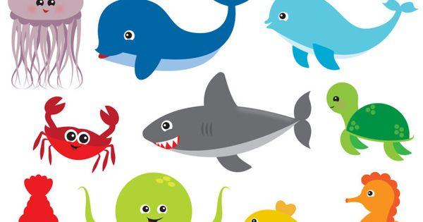 Sea Animal Clipart Sea Animal Clip Art Sea Creatures Fish Etsy Clip Art Sea Animals Images Animal Clipart