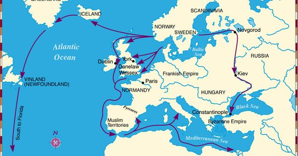 Viking Exploration Routes, 700 - 941 AD