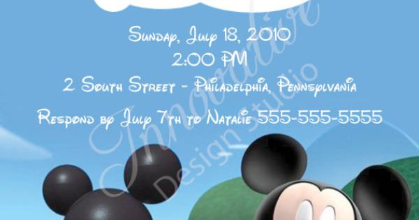 Mickey Mouse Clubhouse Invitation from Etsy. Lots of options to choose from.