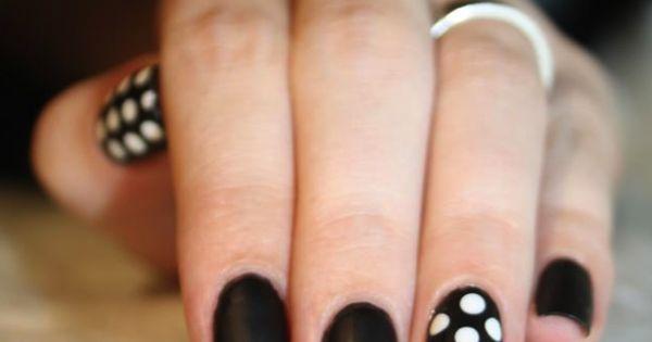 Black and white Matte & Polka Dot Nails