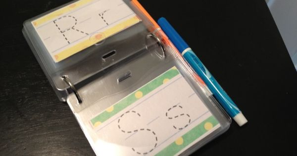 Dry erase traceable letters..Great for restaurants or on-the-go to teach your kids
