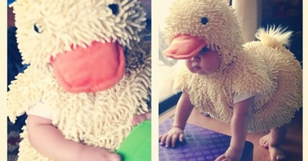Duckling Halloween costume for baby. Add yellow or orange leggings and matching
