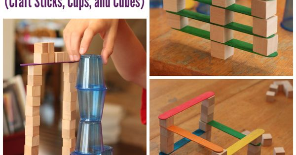 4 Engineering Challenges for Kids - Craft Sticks, Plastic Cups, and Wooden