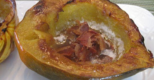 Baked Acorn Squash With Bacon Squash Recipes Acorn Squash Recipes