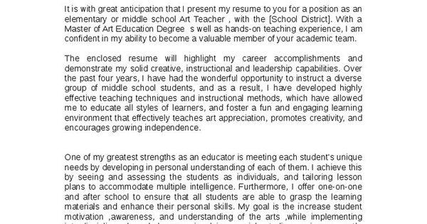 Gallery of Art Teacher Cover Letter - art teacher cover letter