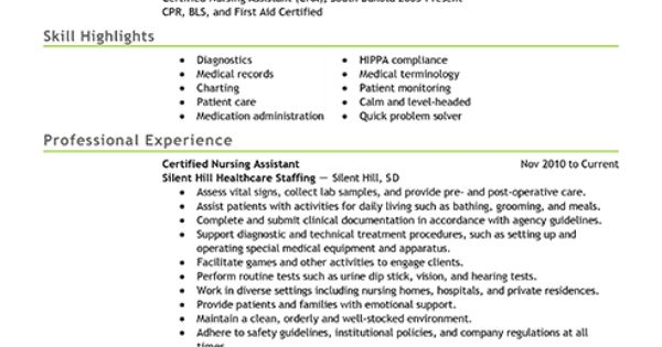 Resume Examples: Certified Nursing Assistant
